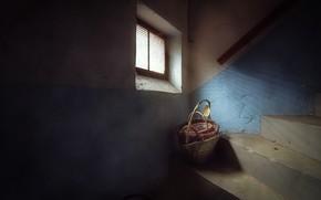 Картинка корзина, лестница, подвал, натурализм