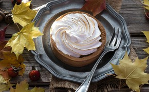 Картинка листья, пирожное, безе