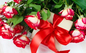 Картинка цветы, день рождения, праздник, подарок, розы, красный бант