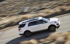 Картинка белый, движение, Ford, Sport, SUV, Explorer, 2017, XLT