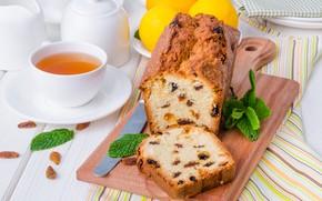 Картинка лимон, чай, мята, кекс, изюм