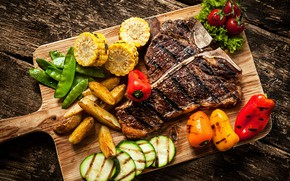 Картинка кукуруза, мясо, доска, перец, овощи, помидоры