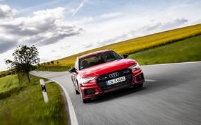 Картинка дорога, красный, движение, Audi, поля, универсал, 2019, A6 Avant, S6 Avant