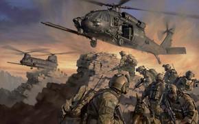 Обои спецназ, эвакуация, вертолёты, special forces, Sine Pari