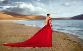 Картинка небо, девушка, поза, озеро, красное, берег, платье, боке, Хисматулин Ренат