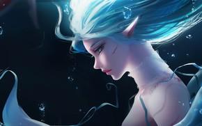 Картинка Girl, Fantasy, Anime, Ocean, Elf