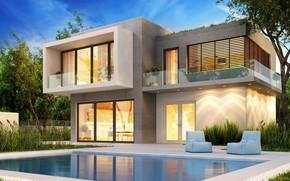 Картинка дизайн, дом, газон, вилла, бассейн, modern, houses, villa, luxury