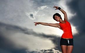 Картинка девушка, Небо, спорт.