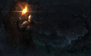 Обои лес, деревья, ночь, огонь, человек, доспехи, маска, фэнтези, факел