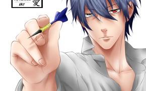 Картинка взгляд, ручка, парень, Psychic Detective Yakumo