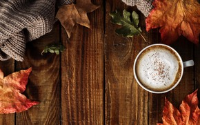 Картинка cup, осенние, фон, leaves, autumn, coffee, листья, wood, чашка кофе, colorful, background, осень, maple