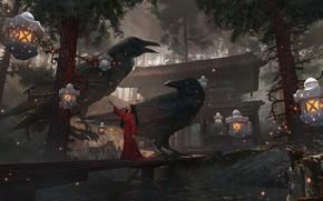Картинка пруд, японка, Япония, фонари, храм, мостки, красное кимоно, сосновый лес, голубые цветочки, черные вороны, by …