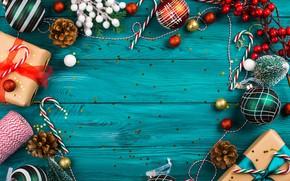 Картинка шарики, праздник, доски, Рождество, Новый год, ёлочные игрушки, новогодние украшения, бирюзовый фон