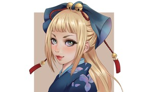 Картинка Girl, Art, Style, Alice, Eyes, Background, Minimalism, Face, Character, Quyen Phung