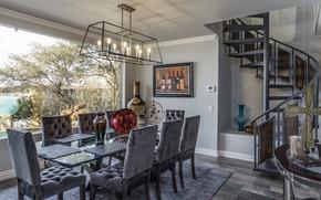 Обои дизайн, столовая, кухня, стол, стулья, мебель