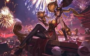Картинка взгляд, девушка, поросята, League Of Legends