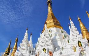Картинка небо, город, башни, храм, архитектура, религия, статуи, Мьянма, буддизм, Янгон