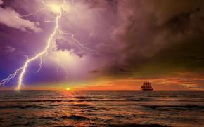 Картинка гроза, океан, парусник