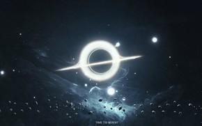 Картинка космос, свет, одиночество, планеты, звёзды, черная дыра, сингулярность, возмездие