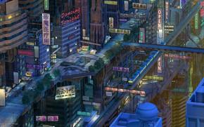 Картинка Ночь, Город, Япония, Поезд, Здания, Азия, Железная дорога, City, Japan, Архитектура, Art, Night, Фантастика, Train, …