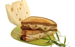 Картинка фото, Сыр, Тарелка, Еда, Хлеб, Сэндвич