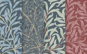 Картинка листья, фон, обои, вектор, текстура, Art, винтаж, Wallpaper, Vintage, Background, Leaves, Pattern