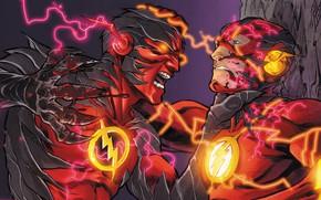 Картинка молнии, битва, fight, flash, DC Comics, флэш, Барри Аллен, speedforce, reverse flash, обратный флэш, реверсивный …