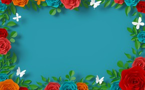 Картинка бабочки, цветы, фон
