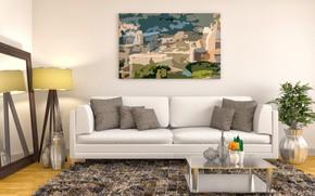 Обои дизайн, интерьер, картина, подушки, ваза, столик, декор, модерн, гостиная.диван