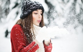 Картинка зима, снег, Девушка, перчатки, Юлия Сказка