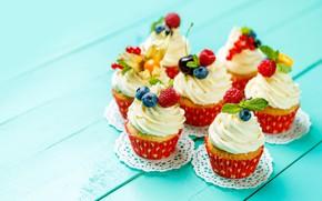 Картинка вишня, ягоды, черника, украшение, крем, десерт, выпечка, кексы