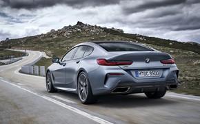 Картинка тучи, купе, BMW, сзади, Gran Coupe, 8-Series, 2019, четырёхдверное купе, 8er, G16, серо-стальной