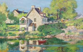 Картинка пейзаж, дом, картина, 1934, Robert Wakeham Pilot, Роберт Пайлот, Лето на Реке