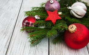 Картинка украшения, шары, Новый Год, Рождество, christmas, balls, wood, merry, decoration, fir tree, ветки ели