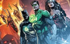 Картинка fantasy, Wonder Woman, Batman, comics, Green Lantern, Superman, artwork, superheroes, fantasy art, DC Comics