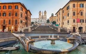 Картинка Рим, Италия, Испанская лестница, Площадь Испании, фонтан Баркачча