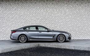 Картинка стена, купе, BMW, Gran Coupe, в профиль, 8-Series, 2019, четырёхдверное купе, 8er, G16, серо-стальной