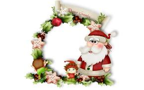 Картинка шарики, снежинки, ветки, эльфы, Новый год, Санта Клаус, Дед Мороз, хвоя, открытка
