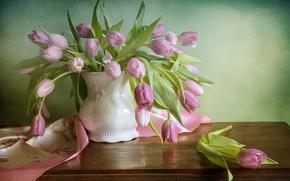 Картинка розовый, тюльпаны, ваза