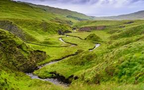 Картинка зелень, лето, небо, трава, горы, река, ручей, холмы, берег, весна, склон, зеленые, речка, водоем, рельеф, …