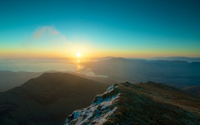 Картинка Sunrise, sun, sea, mountains, bay, sky, nature, landscape