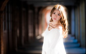 Картинка взгляд, девушка, азиатка, милашка, боке