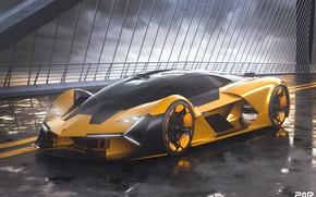 Картинка рендеринг, Lamborghini, суперкар, Terzo Millennio