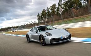 Картинка купе, скорость, 911, Porsche, трек, Carrera 4S, 992, 2019