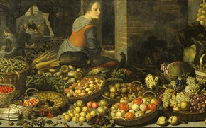 Картинка масло, картина, холст, 1651, Флорис ван Схотен, Натюрморт с фруктами ..., Floris van Schooten