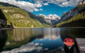 Картинка горы, озеро, лодка, Австрия, Альпы, Austria, Alps, Lake Gosau, Озеро Гозау