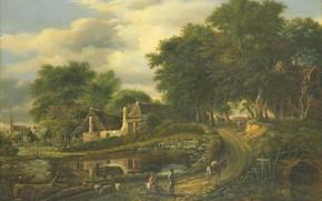 Картинка масло, картина, Пейзаж, 1837, Julien-Joseph Ducorron, Жюльен-Жозеф Дюкоррон