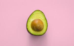 Картинка розовый фон, авокадо, минимализим