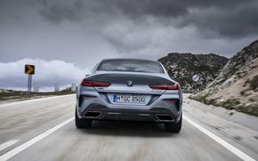 Картинка пасмурно, купе, BMW, Gran Coupe, корма, 8-Series, 2019, четырёхдверное купе, 8er, G16, серо-стальной