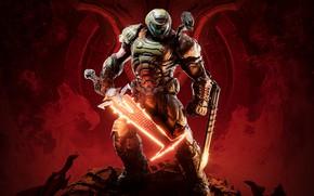 Картинка солдат, кости, черепа, броня, красный фон, DOOM Eternal